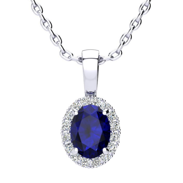 1 Carat Oval Shape Sapphire & Halo Diamond Necklace in 10K White