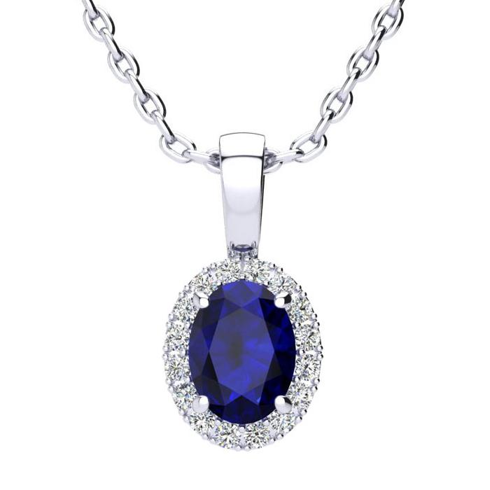 1 Carat Oval Shape Sapphire & Halo Diamond Necklace in 14K White