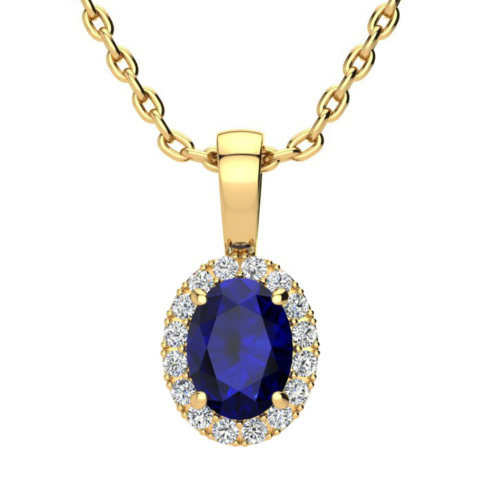 1 Carat Oval Shape Sapphire & Halo Diamond Necklace in 14K Yellow