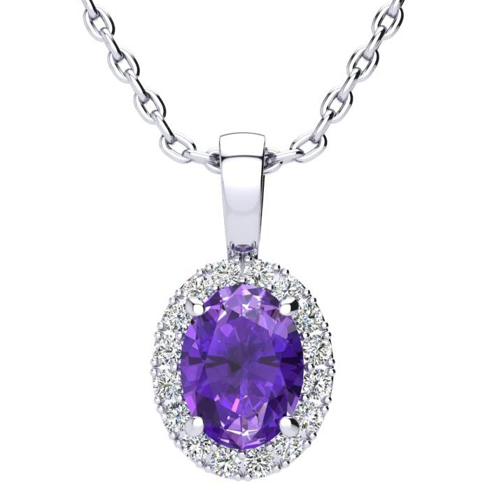 1.25 Carat Oval Shape Amethyst & Halo Diamond Necklace in 10K Whi