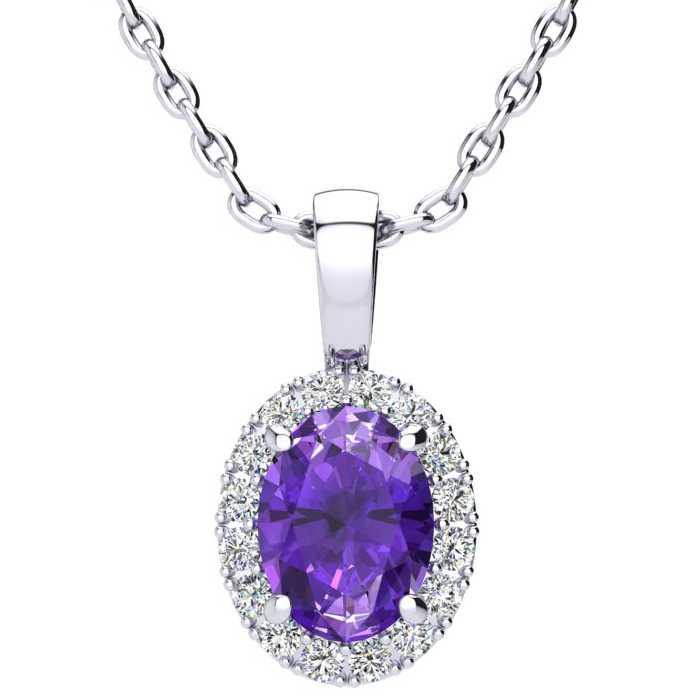 1.25 Carat Oval Shape Amethyst & Halo Diamond Necklace in 14K Whi