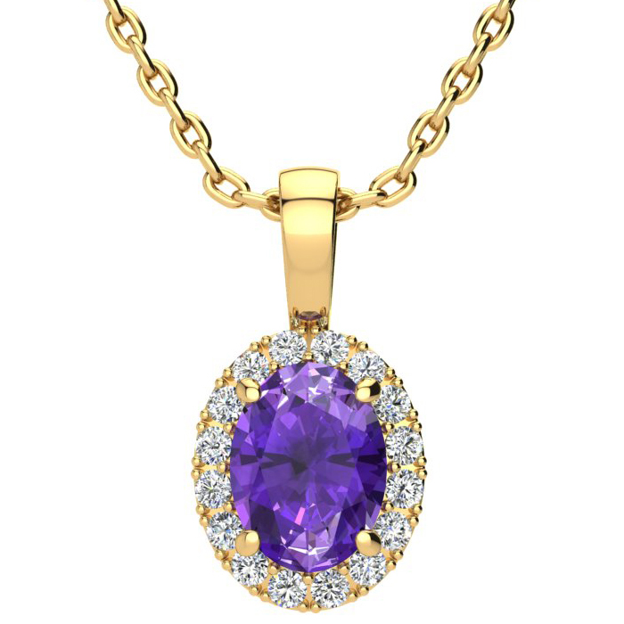 1.25 Carat Oval Shape Amethyst & Halo Diamond Necklace in 10K Yel