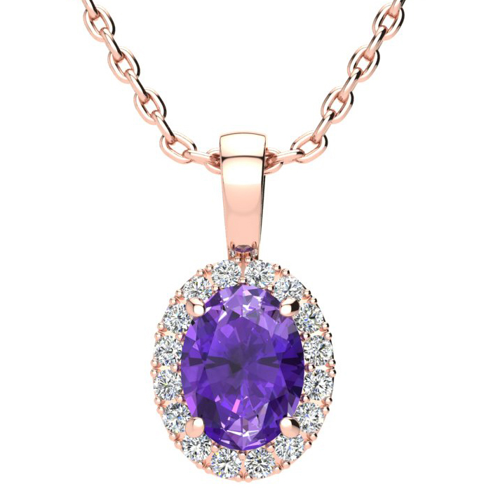 1.25 Carat Oval Shape Amethyst & Halo Diamond Necklace in 14K Ros