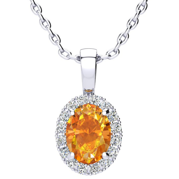 1.25 Carat Oval Shape Citrine & Halo Diamond Necklace in 10K Whit