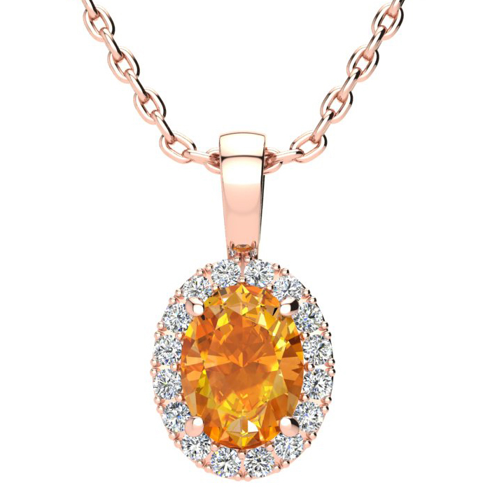 1.25 Carat Oval Shape Citrine & Halo Diamond Necklace in 10K Rose