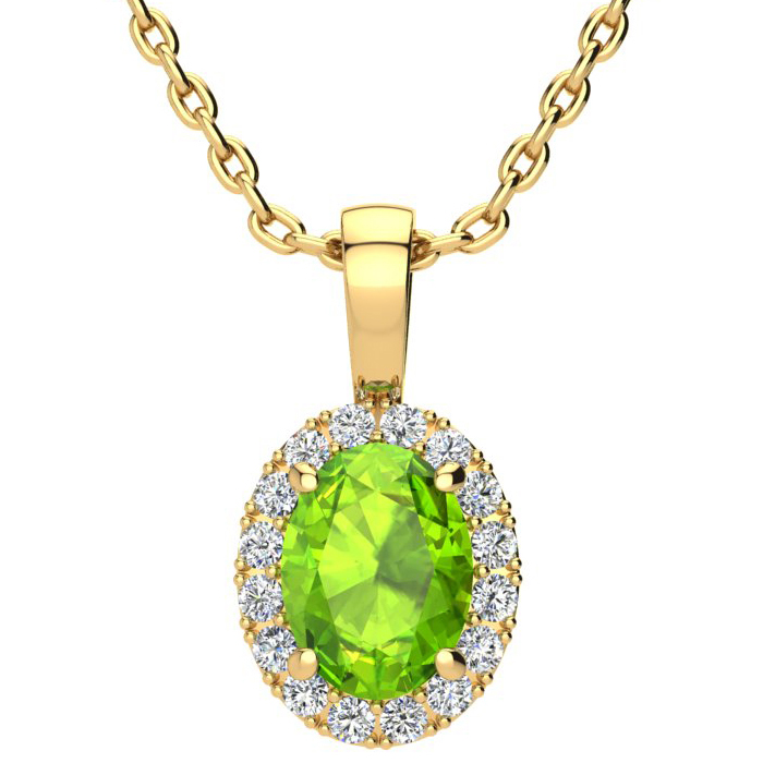 1.5 Carat Oval Shape Peridot & Halo Diamond Necklace in 14K Yello