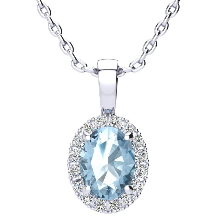 1.5 Carat Oval Shape Blue Topaz & Halo Diamond Necklace in 10K Wh