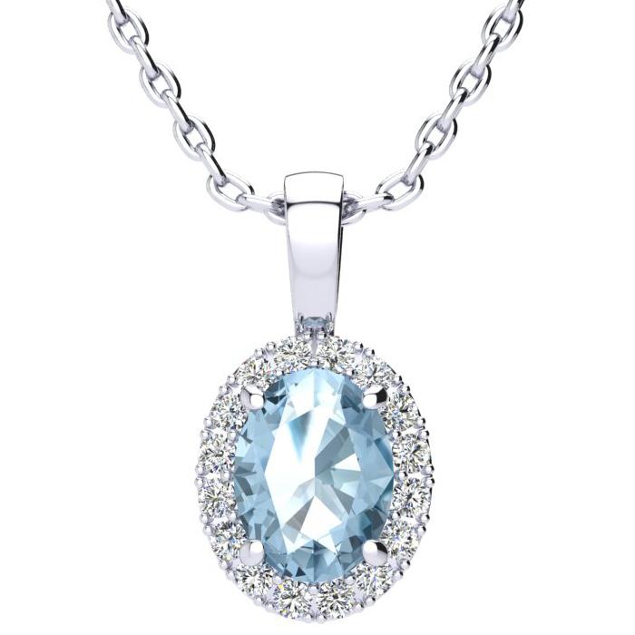 1.5 Carat Oval Shape Blue Topaz & Halo Diamond Necklace in 14K Wh