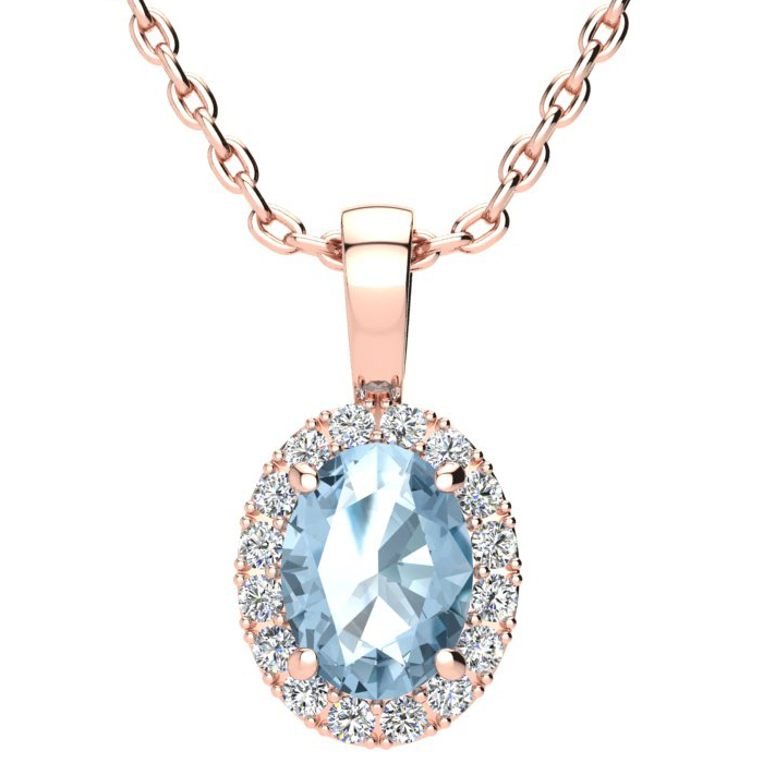 1.5 Carat Oval Shape Blue Topaz & Halo Diamond Necklace in 14K Ro