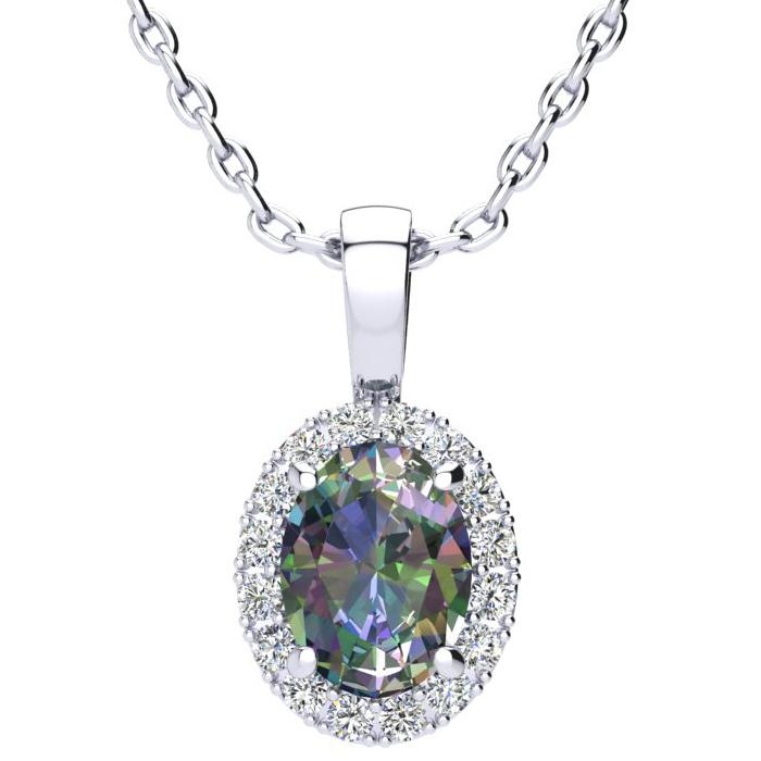 1.5 Carat Oval Shape Mystic Topaz & Halo Diamond Necklace in 14K