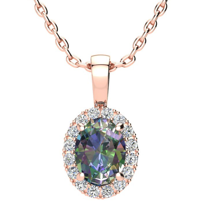 1.5 Carat Oval Shape Mystic Topaz & Halo Diamond Necklace in 10K Rose Gold w/ 18 Inch Chain, I/J by SuperJeweler