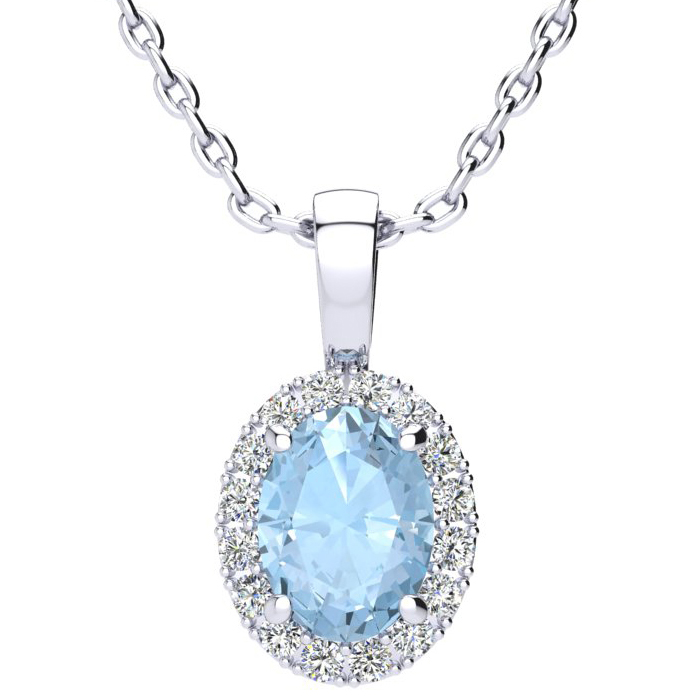 1 1/3 Carat Oval Shape Aquamarine & Halo Diamond Necklace in 10K