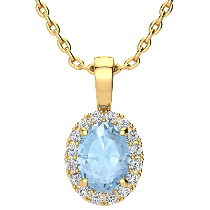 1 1/3 Carat Oval Shape Aquamarine & Halo Diamond Necklace in 10K Yellow Gold w/ 18 Inch Chain, I/J by SuperJeweler