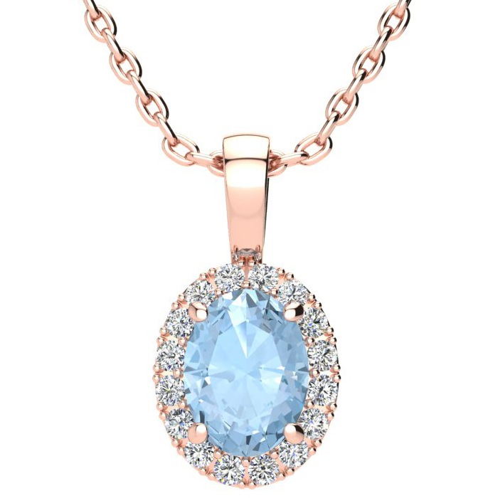 1 1/3 Carat Oval Shape Aquamarine & Halo Diamond Necklace in 14K