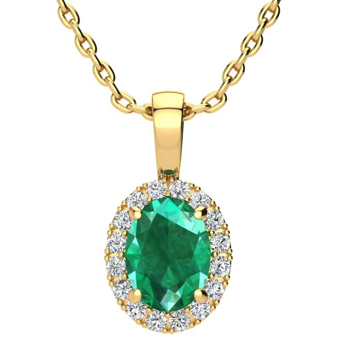 1 1/3 Carat Oval Shape Emerald Cut & Halo Diamond Necklace in 10K