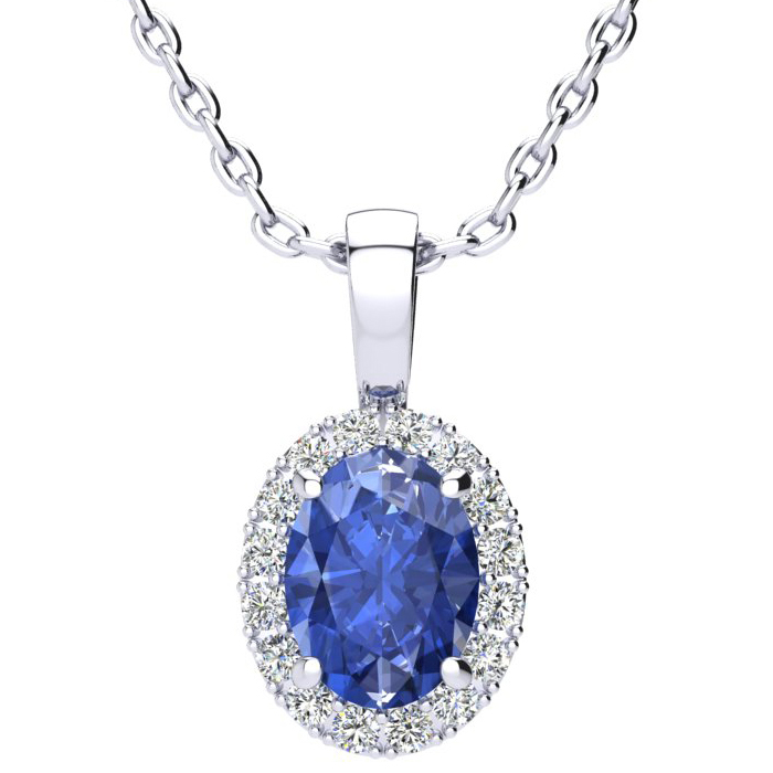 1.5 Carat Oval Shape Tanzanite & Halo Diamond Necklace in 10K White Gold w/ 18 Inch Chain, I/J by SuperJeweler