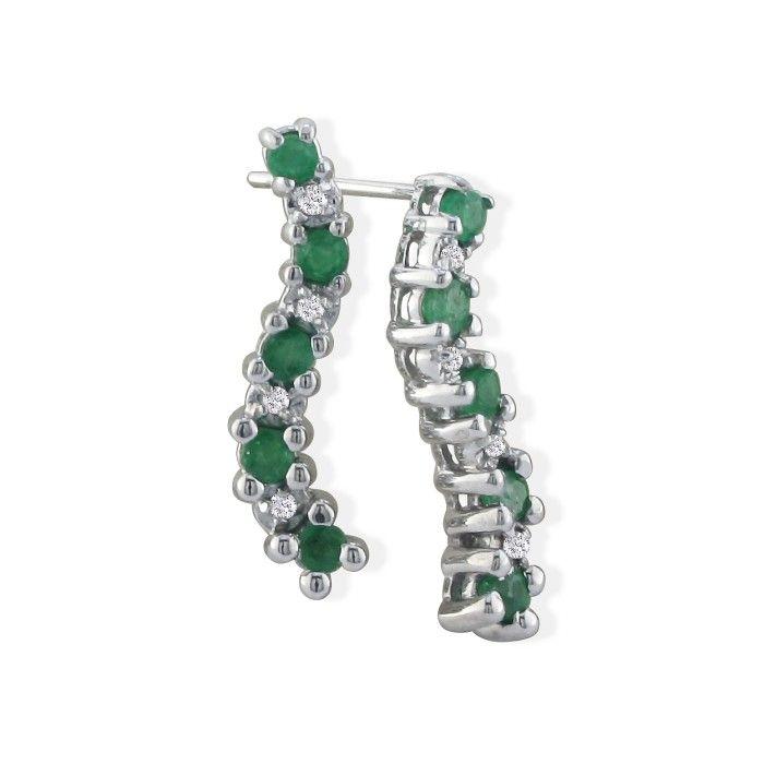 1/2 Carat Emerald Cut & Diamond Earrings in 10k White Gold, K/L by SuperJeweler