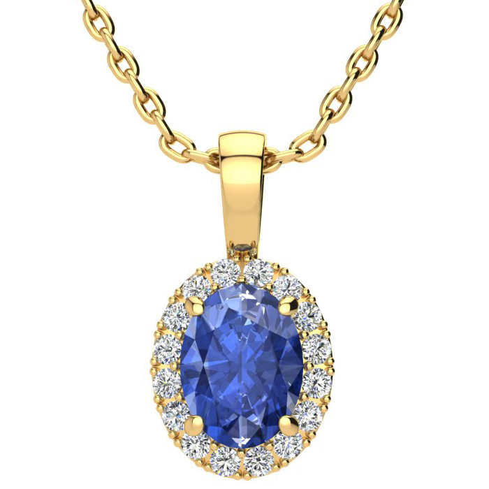 1.5 Carat Oval Shape Tanzanite & Halo Diamond Necklace in 14K Yellow Gold w/ 18 Inch Chain, I/J by SuperJeweler