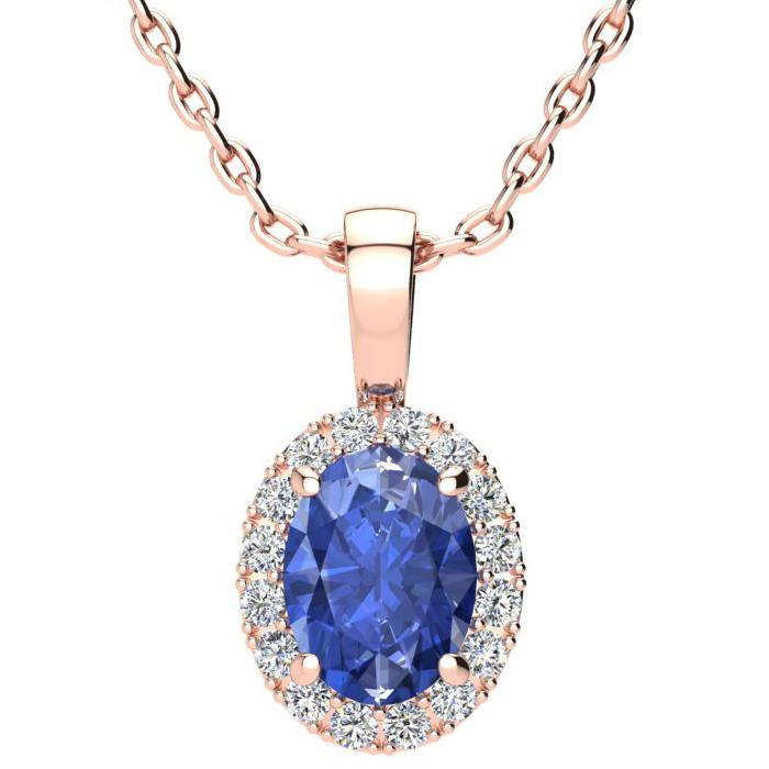 1.5 Carat Oval Shape Tanzanite & Halo Diamond Necklace in 10K Ros