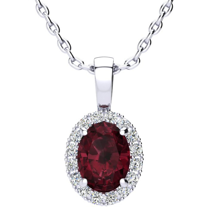 1.5 Carat Oval Shape Garnet & Halo Diamond Necklace in 10K White