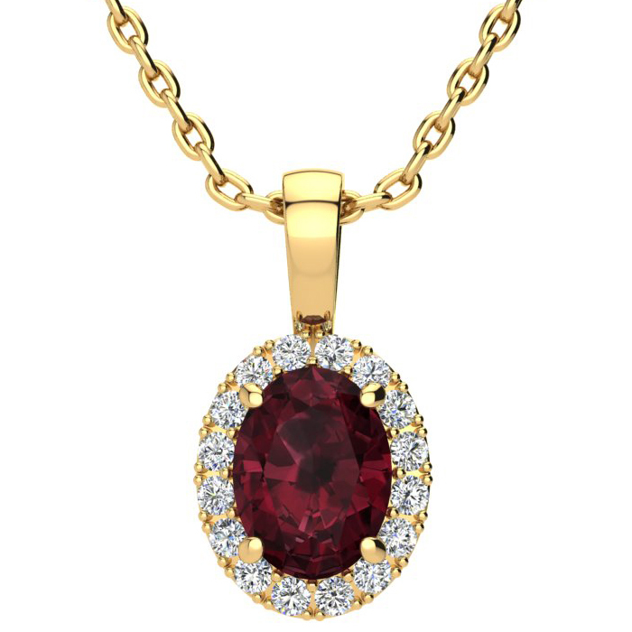 1.5 Carat Oval Shape Garnet & Halo Diamond Necklace in 10K Yellow