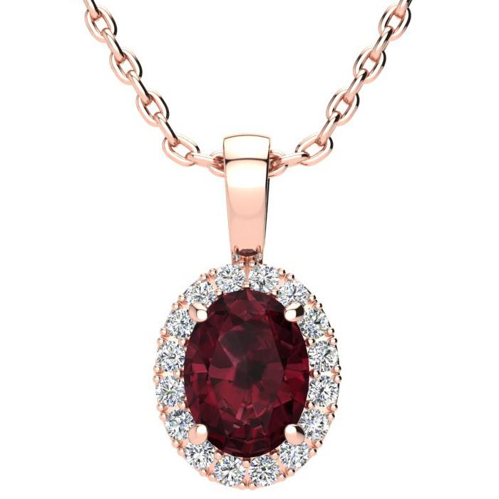 1.5 Carat Oval Shape Garnet & Halo Diamond Necklace in 14K Rose G