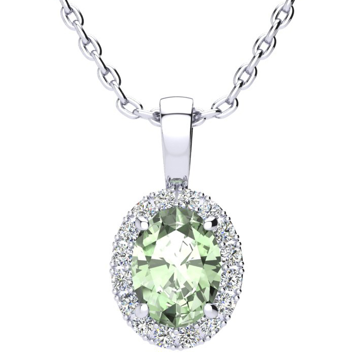 1.25 Carat Oval Shape Green Amethyst & Halo Diamond Necklace in 1