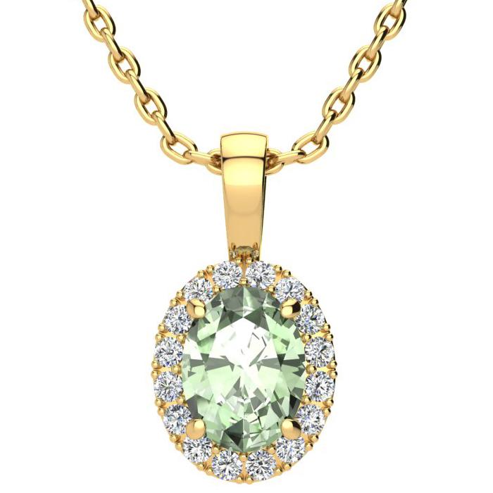 1.25 Carat Oval Shape Green Amethyst & Halo Diamond Necklace in 1
