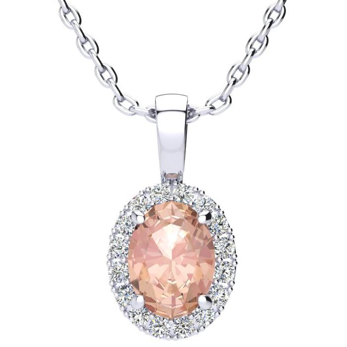 1 1/3 Carat Oval Shape Morganite & Halo Diamond Necklace in 10K W