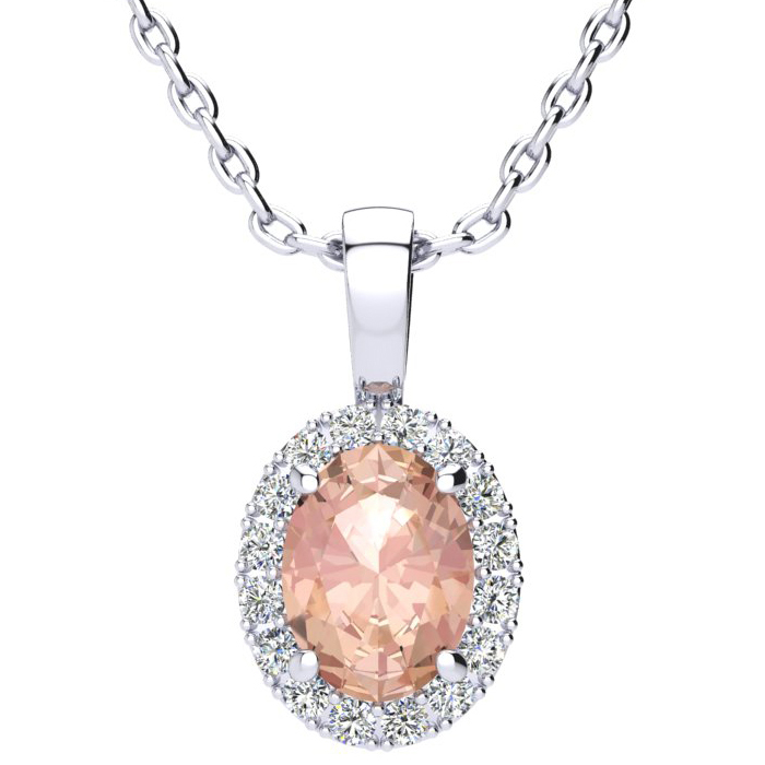 1 1/3 Carat Oval Shape Morganite & Halo Diamond Necklace in 14K W