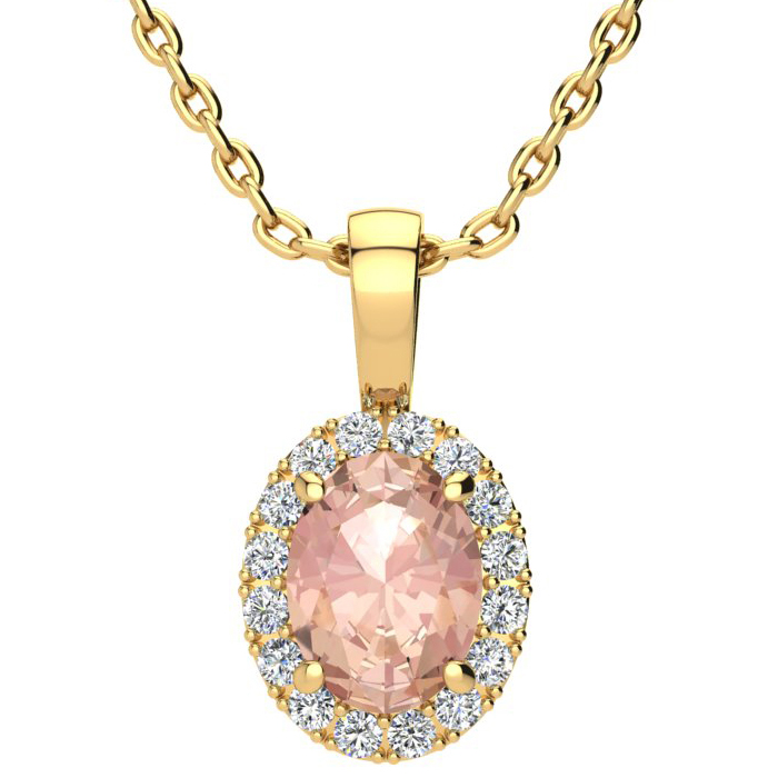 1 1/3 Carat Oval Shape Morganite & Halo Diamond Necklace in 10K Y
