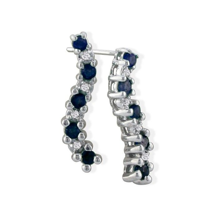 1/2 Carat Sapphire Journey Diamond Earrings in 10k White Gold, K/