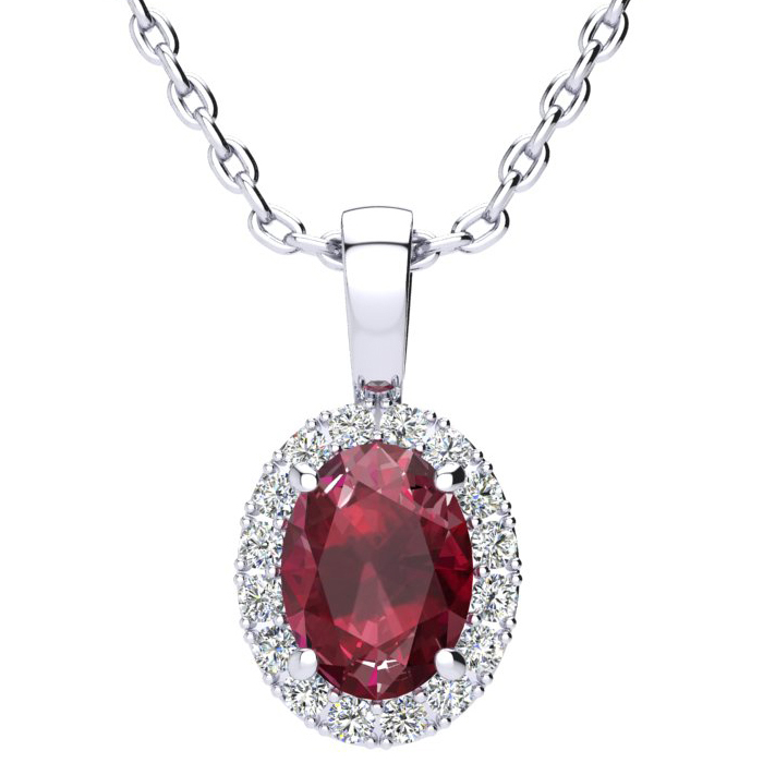 1 2/3 Carat Oval Shape Ruby & Halo Diamond Necklace in 14K White