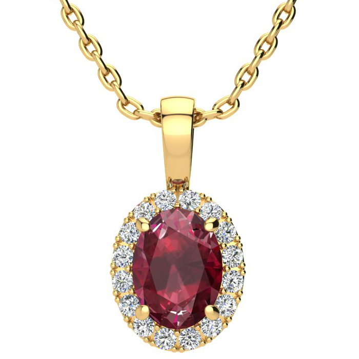 1 2/3 Carat Oval Shape Ruby & Halo Diamond Necklace in 14K Yellow
