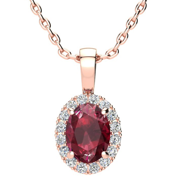 1 2/3 Carat Oval Shape Ruby & Halo Diamond Necklace in 10K Rose G