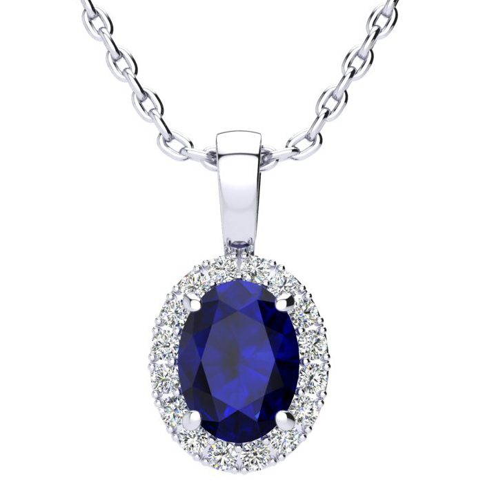 1 3/4 Carat Oval Shape Sapphire & Halo Diamond Necklace in 14K White Gold w/ 18 Inch Chain, I/J by SuperJeweler