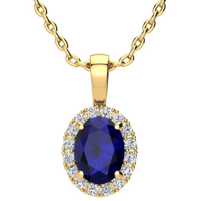 1 3/4 Carat Oval Shape Sapphire & Halo Diamond Necklace in 14K Yellow Gold w/ 18 Inch Chain, I/J by SuperJeweler