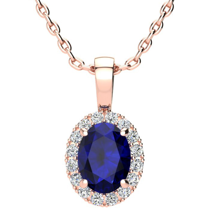 1 3/4 Carat Oval Shape Sapphire & Halo Diamond Necklace in 14K Ro