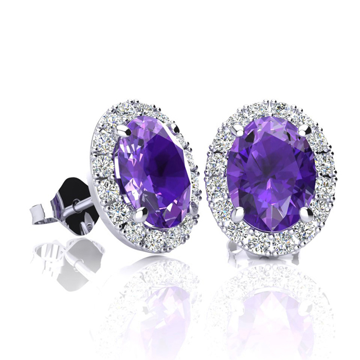1.5 Carat Oval Shape Amethyst & Halo Diamond Stud Earrings in 10K