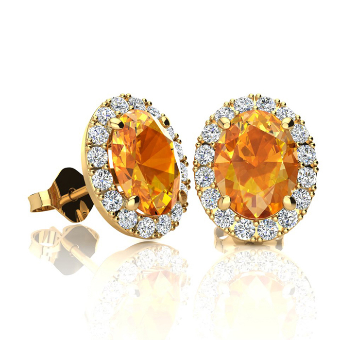 1.5 Carat Oval Shape Citrine & Halo Diamond Stud Earrings in 10K