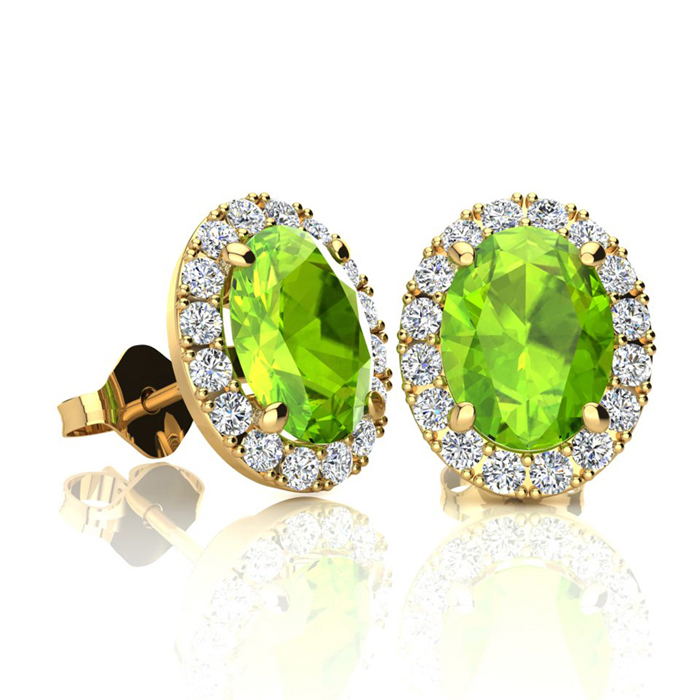2 Carat Oval Shape Peridot & Halo Diamond Stud Earrings in 10K Ye