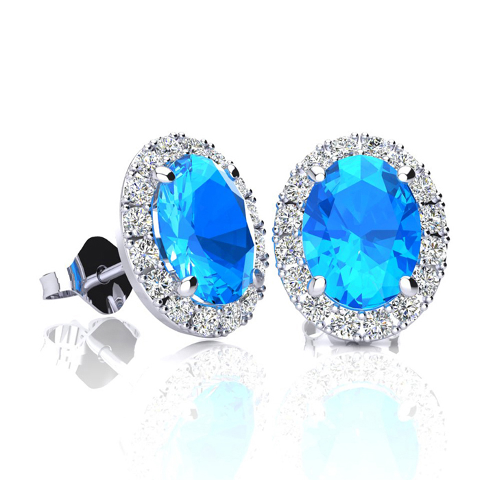 2 1/4 Carat Oval Shape Blue Topaz & Halo Diamond Stud Earrings in 14K White Gold, I/J by SuperJeweler