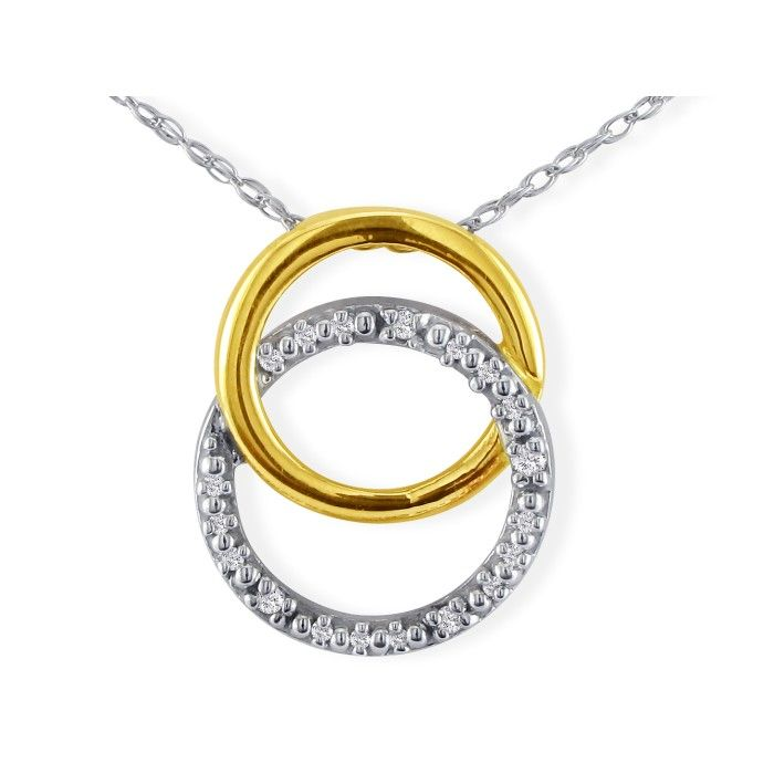 Image of .02ct Circle Style Diamond Pendant in 10k Two Tone Gold
