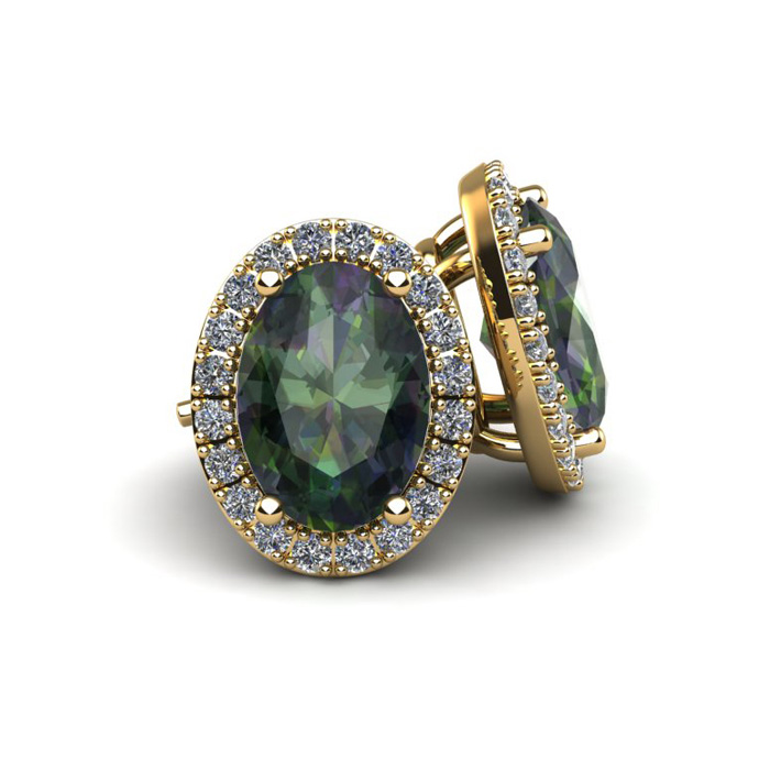 2 1/4 Carat Oval Shape Mystic Topaz & Halo Diamond Stud Earrings