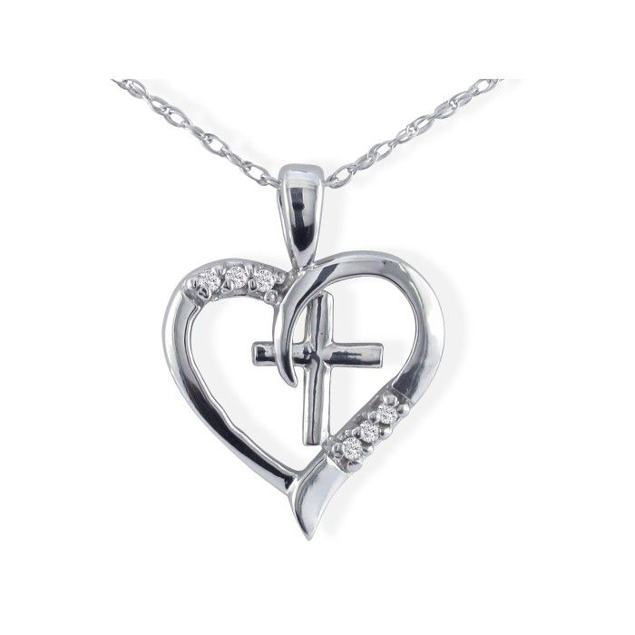 Image of .03ct Cross Diamond Heart Pendant in 10k White Gold