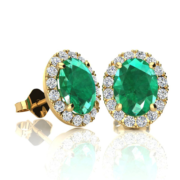1 3/4 Carat Oval Shape Emerald Cut & Halo Diamond Stud Earrings in 10K Yellow Gold, I/J by SuperJeweler