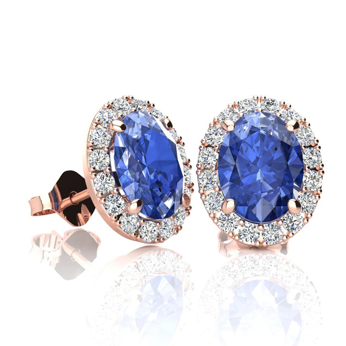 2 Carat Oval Shape Tanzanite & Halo Diamond Stud Earrings in 14K