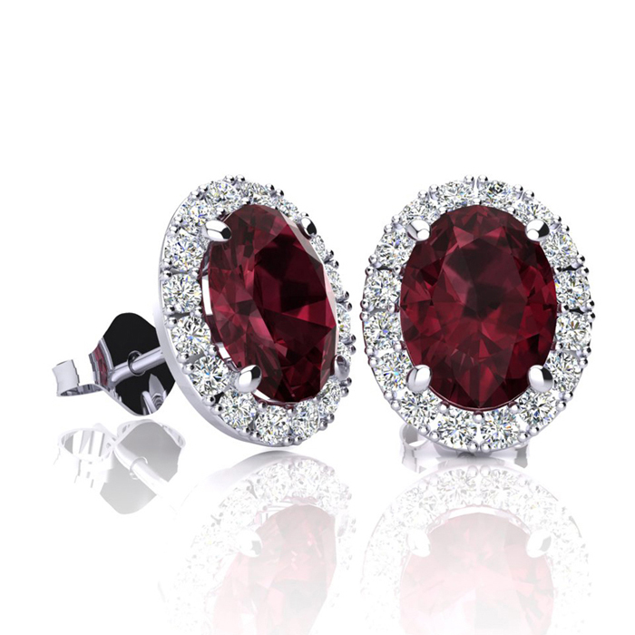 2 1/4 Carat Oval Shape Garnet & Halo Diamond Stud Earrings in 14K
