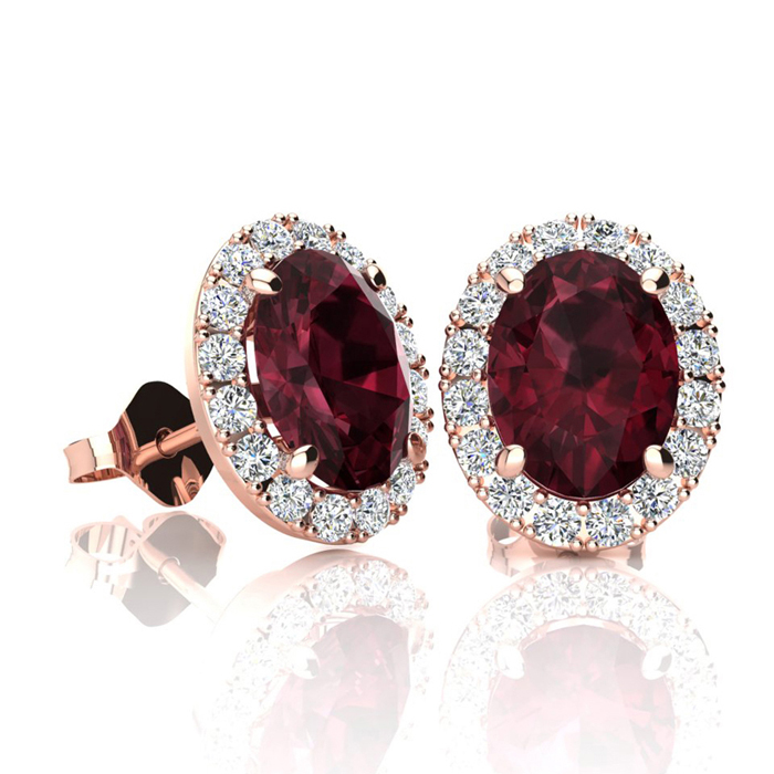 2 1/4 Carat Oval Shape Garnet & Halo Diamond Stud Earrings in 10K