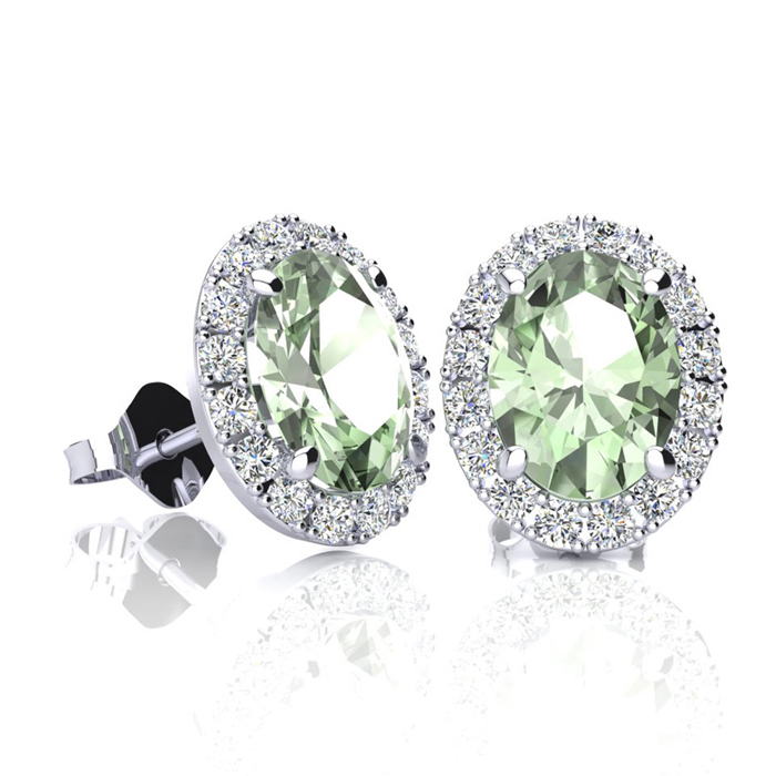 1.5 Carat Oval Shape Green Amethyst & Halo Diamond Stud Earrings in 14K White Gold, I/J by SuperJeweler